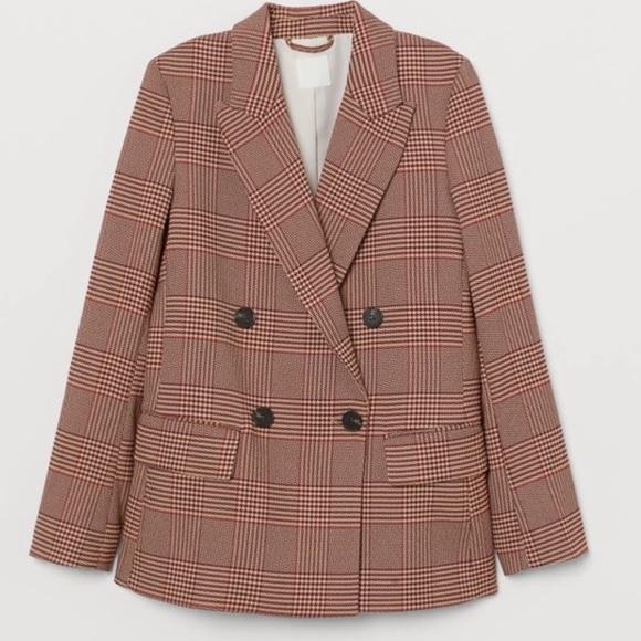 H&M Red & Beige Parisian Blazer